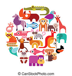 Zoo animals vector round illustration. Various isolated...