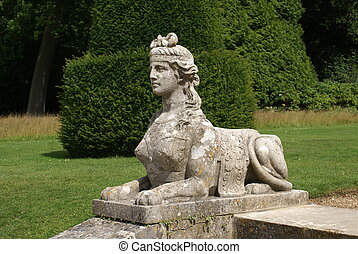 statue of sphinx, Blenheim Palace - sphinx statue in the...