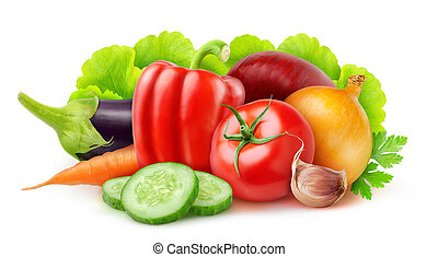 Vegetables - Fresh vegetables isolated on white