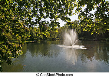 Pond with fountain, Germany - Pond with fountain in...