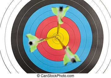 Archery target with arrows in short dept of field - The...