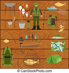 Fishing equipment icon set