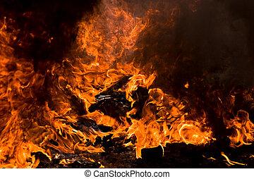 fuego, rabia