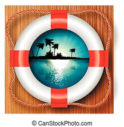 buoy in the very landscape - View of the island with palm...