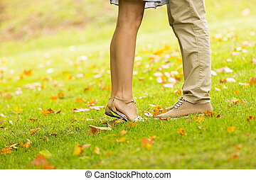 couple kissing at the park - couple kissing outdoors at the...