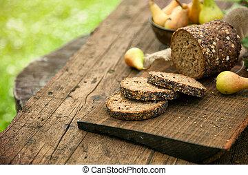 Fresh bread - Fresh healthy bread on wood. Breakfast with...