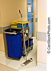 Cleaning trolley - Cleaning instruments, chemicals, garbage...