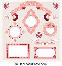 vector pink love set ornament