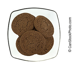 Chocolate cookies in a translucent bowl