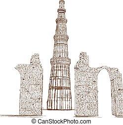 Qutub Minar, Delhi, India - Vector - Qutub Minar, New Delhi,...