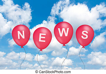 news text on balloon with blue sky background