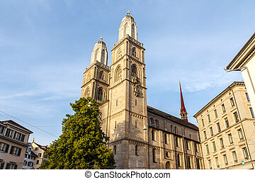 Grossmunster Church in Zurich, Switzerland - The...