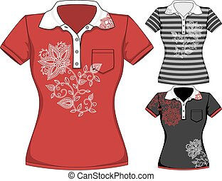 Vector womens short sleeve t-shirt design templates in three...