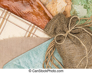 fashionable cozy country style - a linen bag with a bow of...