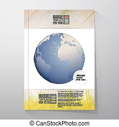 World globe. Brochure, flyer or report for business, template vector