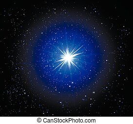 Supernova in space, vector art illustration of a starry sky.