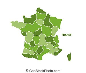 France map with regions - Vector illustration of a green...
