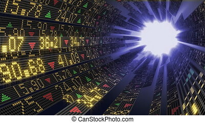 Stock tickers sliding in tunnel - Stock market ticker...