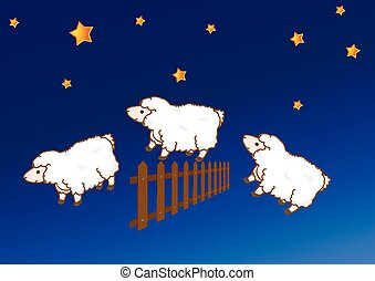 sheep jumping over a fence
