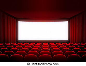 cinema screen in red audience - cinema blank screen for...