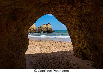 Hole of a big cave, Algarve Portugal - Hole of a big cave in...