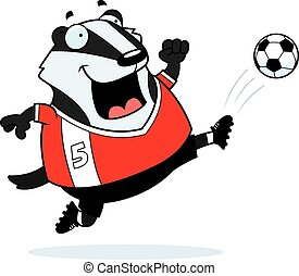 Cartoon Badger Soccer Kick - A cartoon illustration of a...