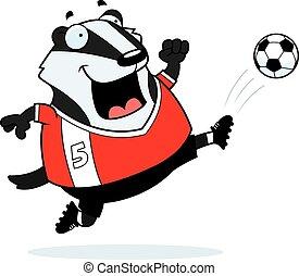 Cartoon Badger Soccer Kick - A cartoon illustration of a...