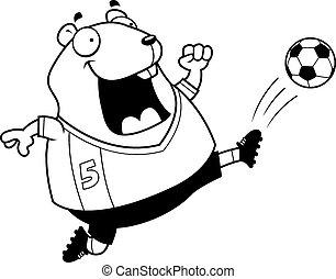 Cartoon Hamster Soccer Kick - A cartoon illustration of a...