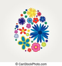 Easter egg with flowers - Easter egg from flowers, vector...