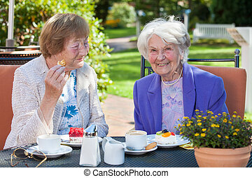 Cheerful Old Women Relaxing at the Garden Table - Close up...