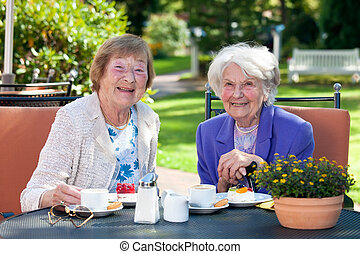 Two Happy Senior Ladies Having Snacks Outside - Close up Two...