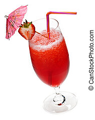 Strawberry daiquiri in glass isolated on white background...