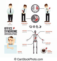 Infographic office syndrome Template Design Concept Vector...