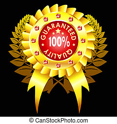 golden quality badge with ribbon and jewels