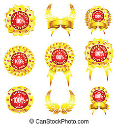 set of golden badges on white background - set of golden...