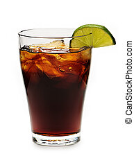 Glass of cola with ice and lime isolated on white background