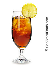 Lemon iced tea - Glass of cold iced tea with ice and lemon