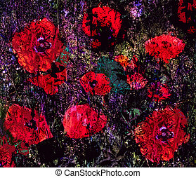 Stylized bright red poppies on grunge stained and striped...