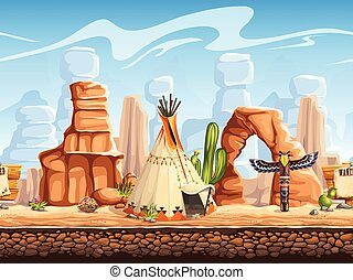 Tileable horizontal background wild west. Set3 - Tileable...