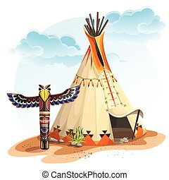 North American Indian tipi home with totem - Illustration of...