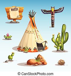 Wild west set - vector few different items on the theme of...