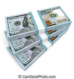 Stacks of money. New one hundred dollars. 3D illustration.
