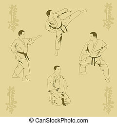 Four men show karate