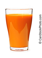 Carrot juice in glass - Carrot juice in clear glass isolated...