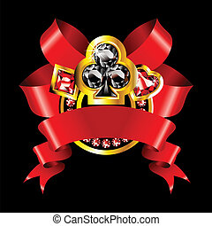 casino banner - luxury golden casino badge with red ribbons