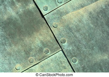 weathered copper sheet - close up of weathered copper sheet...