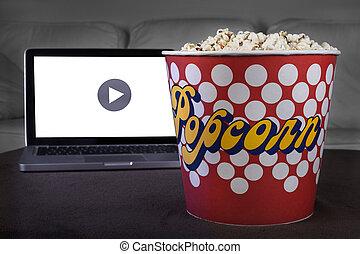 Movie online with popcorn