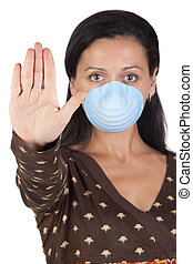 Girl with mask stopping influenza A isolated over white