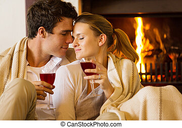 young couple enjoying spend time together - loving young...