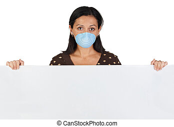 Girl with mask and blank poster